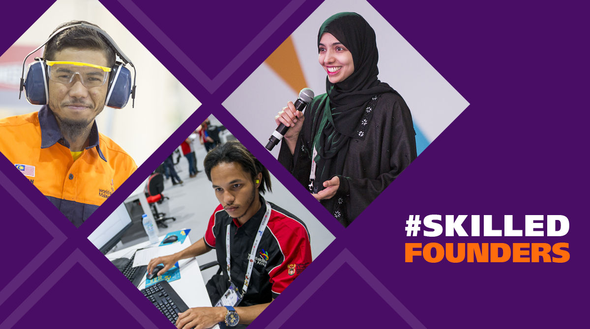 A promotional image for WorldSkills content theme in May 2021 - #SkillsFounders highlighted young people who have applied their skills expertise to entrepreneurial ventures.