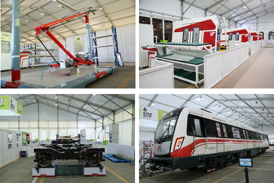 A collage of four images showing Jiean Hi-tech's devices and services including rail transit train driving and maintenance systems.