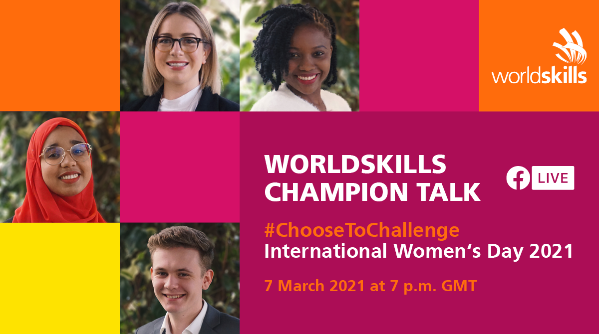 Flyer for the WorldSkills Champion Talk Facebook Live on 7 March
