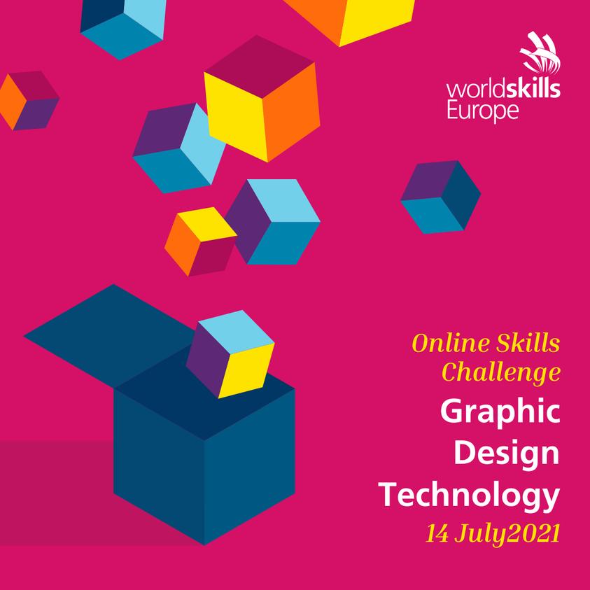 Flyer promoting WorldSkills Europe's new Online Skills Challenge in Graphic Design Technology.