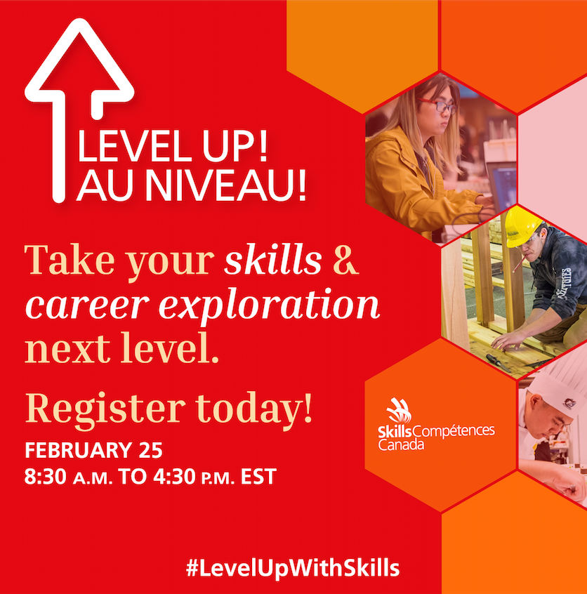 "Flyer for ""Level Up!"", a one-day virtual skills event on 25 February 2021."